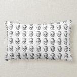Jawless Skulls, Black and White Pattern. Pillow
