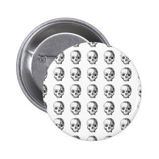 Jawless Skulls, Black and White Pattern. Pinback Button