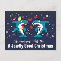 Jawlly Good Christmas Sharks Personalized Holiday Postcard