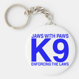 Jaws with Paws enforcing the Laws Basic Round Button Keychain