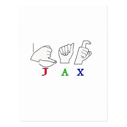 JAX NAME SIGN ASL FINGERSPELLED POSTCARD
