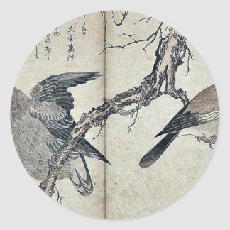Jay and owl by Kitagawa, Utamaro Ukiyoe Classic Round Sticker