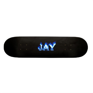 Jay skateboard blue fire and flames design