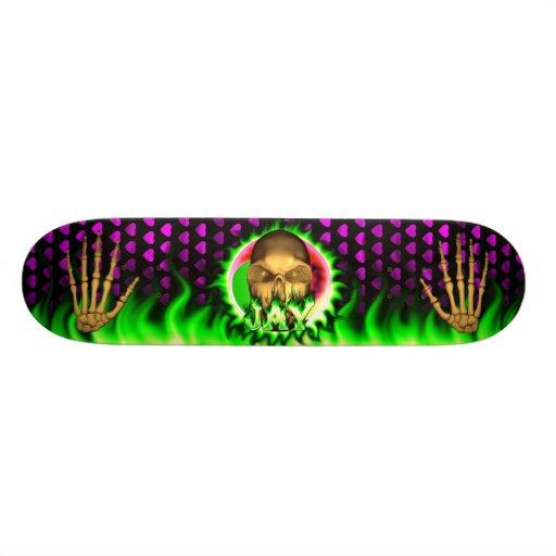 Jay skull green fire Skatersollie skateboard. Skate Board Decks