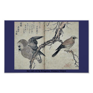 Jay y búho por Kitagawa, Utamaro Ukiyoe Poster