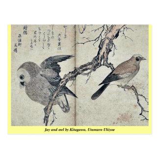 Jay y búho por Kitagawa, Utamaro Ukiyoe Postales