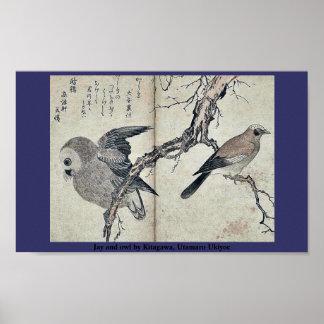 Jay y búho por Kitagawa, Utamaro Ukiyoe Póster
