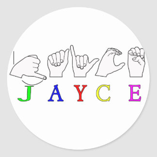 JAYCE  NAME SIGN ASL FINGERSPELLED CLASSIC ROUND STICKER