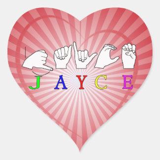 JAYCE  NAME SIGN ASL FINGERSPELLED HEART STICKER