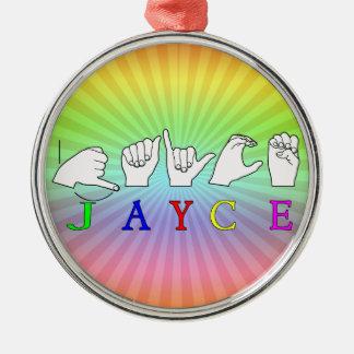 JAYCE  NAME SIGN ASL FINGERSPELLED METAL ORNAMENT