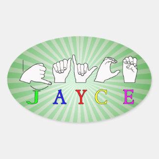 JAYCE  NAME SIGN ASL FINGERSPELLED OVAL STICKER
