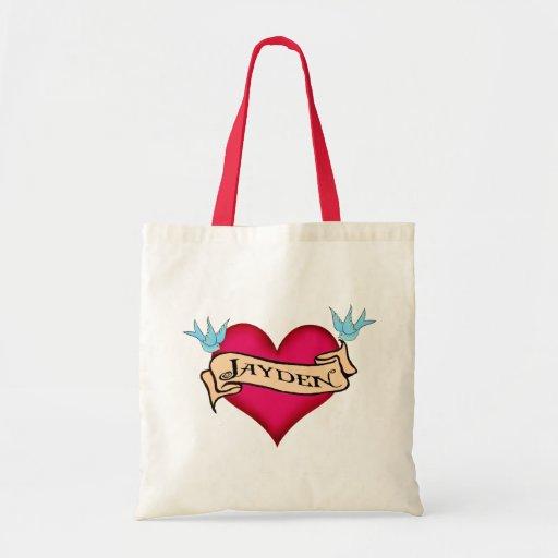 Jayden - Custom Heart Tattoo T-shirts & Gifts Bag