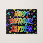 "[ Thumbnail: ""Jayden"" First Name, Fun ""Happy Birthday"" Jigsaw Puzzle ]"