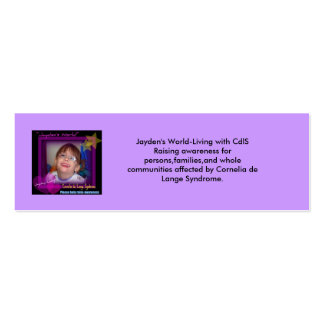 jayden's world help raise awareness, Jayde... Double-Sided Mini Business Cards (Pack Of 20)
