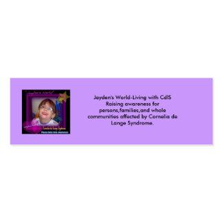 jayden's world help raise awareness, Jayde... Mini Business Card