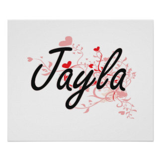 Jayla Artistic Name Design with Hearts Poster
