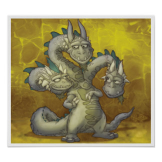 Jayne, Casey, Knowle the three headed dragon Print