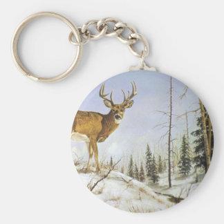 Jay's Peak, White Tail Deer Basic Round Button Keychain