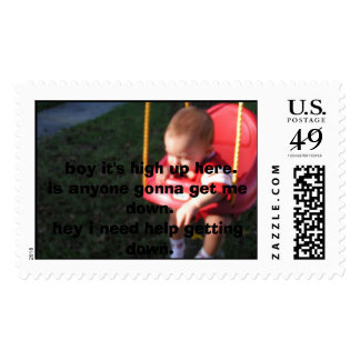 jayse swinging for the fist time in his life,  ... postage stamps