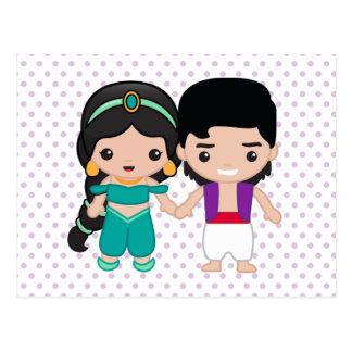 Jazmín y Aladdin Emoji Tarjeta Postal