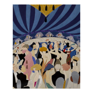 Jazz Age Art Deco Dancing couples dance hall art Posters