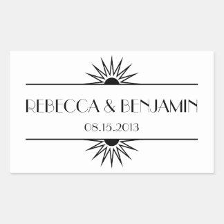 Jazz age black geometric art deco wedding rectangular sticker