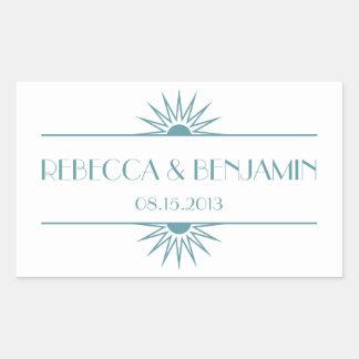 Jazz age blue geometric art deco wedding rectangular sticker