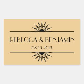 Jazz age dull gold geometric art deco wedding rectangular sticker