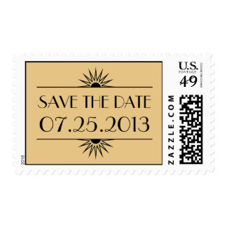 Jazz age gold art deco wedding save the date postage