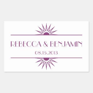 Jazz age purple geometric art deco wedding rectangular sticker