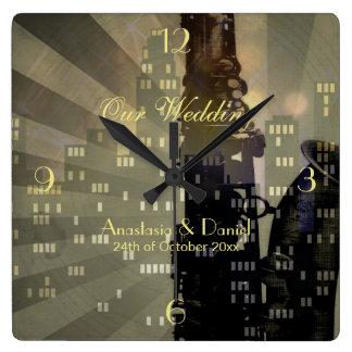 Jazz Age Saxophone City Skyline Wedding Gift Square Wall Clock