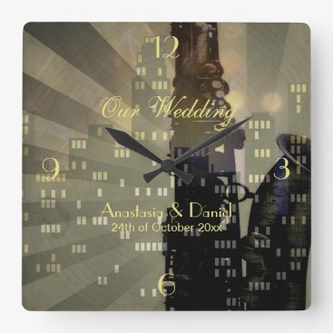invitations_kits Jazz Age Saxophone City Skyline Wedding Gift Square Wall Clock