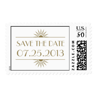 Jazz age taupe art deco wedding save the date postage