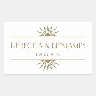 Jazz age taupe geometric art deco wedding rectangular sticker