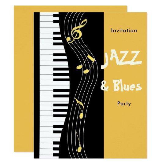 Jazz and blues themed birthday party invitation zazzle jazz and blues themed birthday party invitation stopboris Choice Image