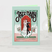 Jazz Baby 1920s jazz age vintage sheet music cover Card