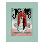 Jazz Baby 1920s jazz age vintage sheet music cover Poster