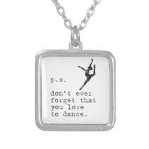 Jazz Ballet Dance Student Teacher Love To Dance Silver Plated Necklace