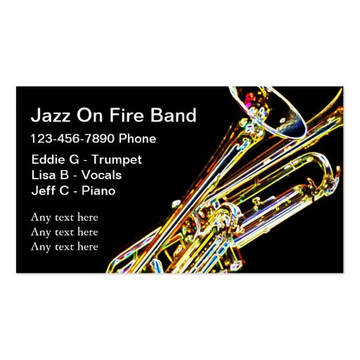 Jazz band business cards zazzle for Band business cards