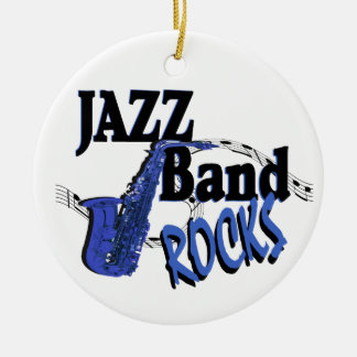 Jazz Band Rocks Double-Sided Ceramic Round Christmas Ornament