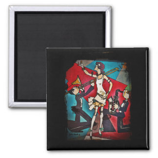 Jazz Band with Girl Singer 2 Inch Square Magnet