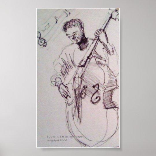 Jazz Bass Player Print