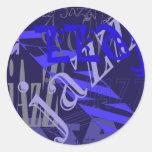 Jazz Blue on Blue Stickers