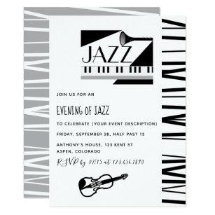 Jazz invitations zazzle jazz blues theme party invitation stopboris Image collections