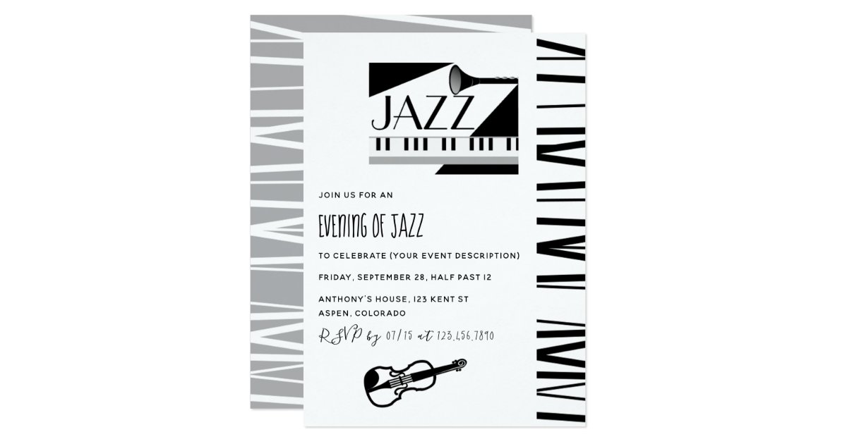 Jazz Blues Theme Party invitation | Zazzle.com