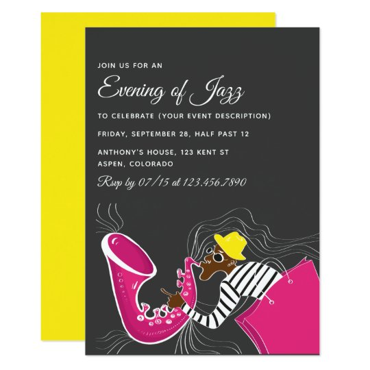 Jazz blues themed party invitation zazzle jazz blues themed party invitation stopboris Image collections