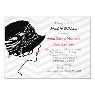 "Jazz & Booze Great Gatsby Birthday Invitation 4.5"" X 6.25"" Invitation Card"