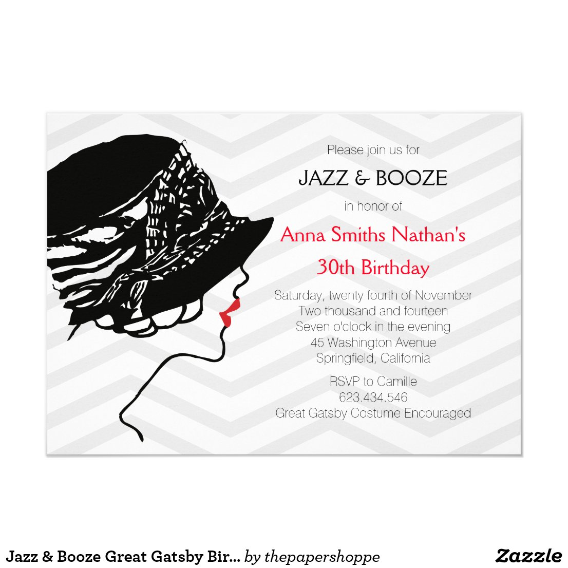 Jazz & Booze Great Gatsby Birthday Invitation