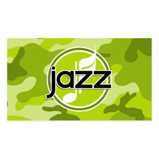 Jazz; bright green camo, camouflage Double-Sided standard business cards (Pack of 100)