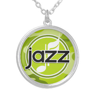 Jazz bright green camo camouflage personalized necklace